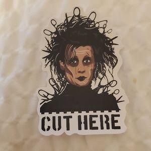 Cut here sticker